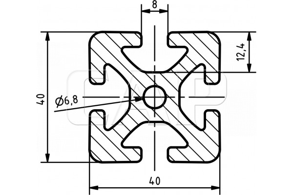 aluminium stangenprofil item 40 40 l nge 1000mm natur eloxiert mwd. Black Bedroom Furniture Sets. Home Design Ideas